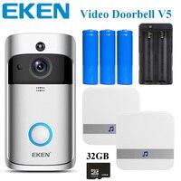 EKEN V5 Wifi Smart Home Video Doorbell Camera Door Bell with Chime Night Vision PIR Motion Detection APP Control