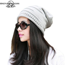 BINGYUANHAOXUAN Couture Fashion Caps Warm autumn-winter Knitted Hats for Women in Stripes two-story Skullies For Men 6color