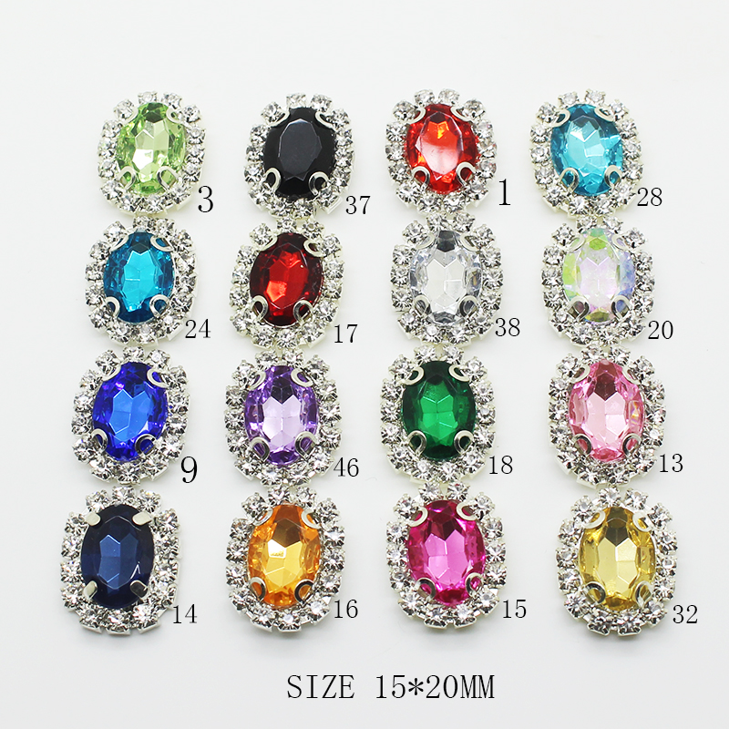 ZMASEY New Metal Buttons For Clothing 10pcs/Lot 15*20mm Rectangle Acrylic Sewing Handwork Buttons Decoration Mix Color