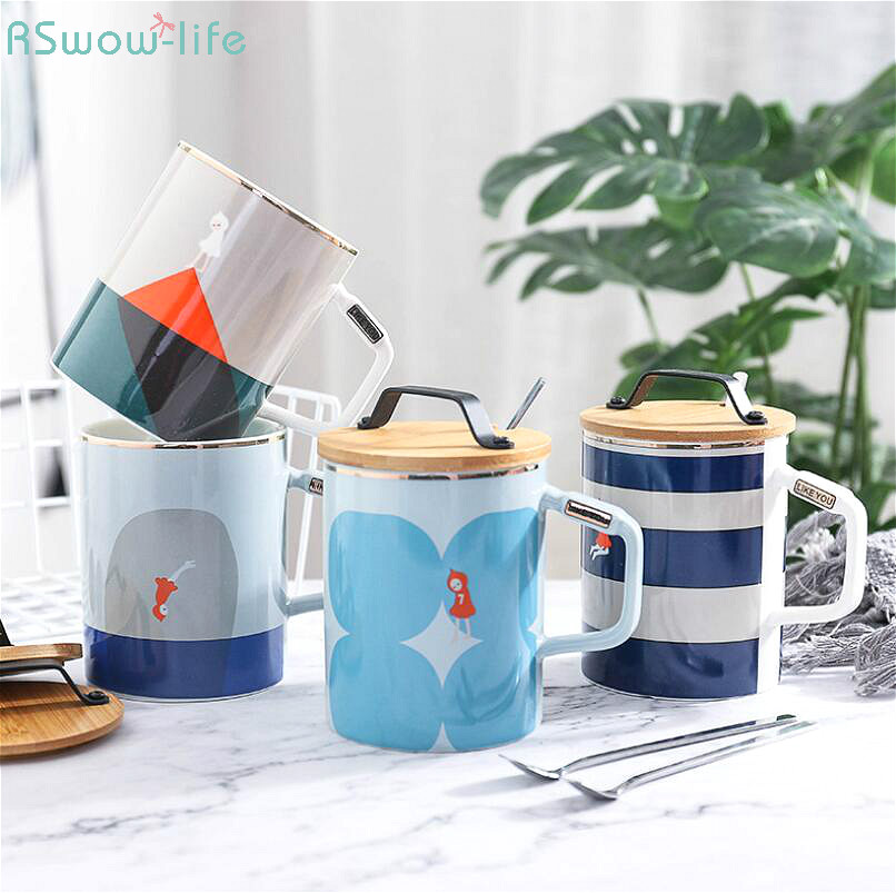 Creative Cartoon Wooden Ceramic Portable Cup Fashion Naval Band Cap With Spoon Lid Handle Coffee Milk Water Mug Cups Office Home