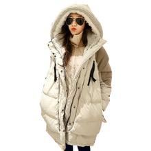 Супер Теплый Корея Зимнее Пальто Женщин Куртки Белый Вниз Подкладка Бархата С Капюшоном Середина Длинные Свободные Утолщение Парки Шинели A0217