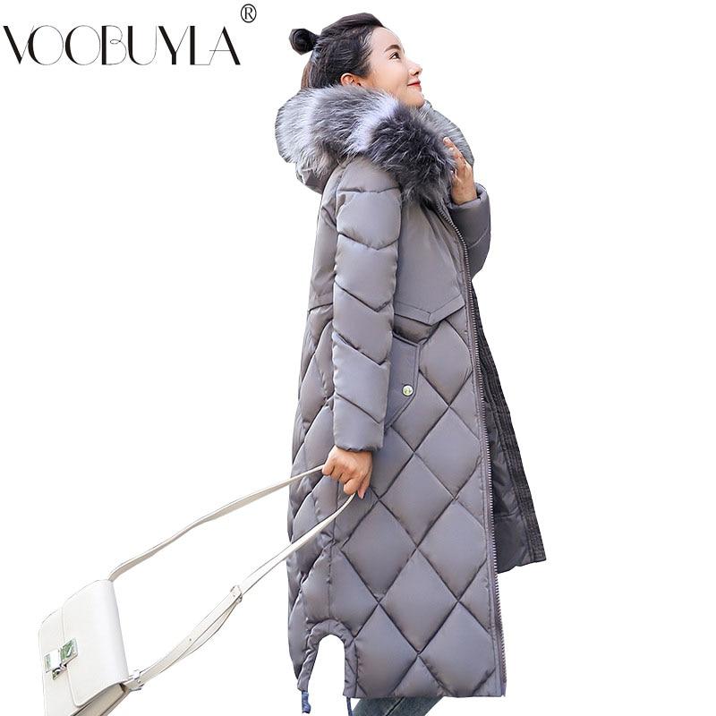 Big Size 3XL Winter   Parka   Women 2018 New Fashion Big Fur Hooded Warm Coat Jacket Femme Long Thicken Down Cotton Jacket Feminino