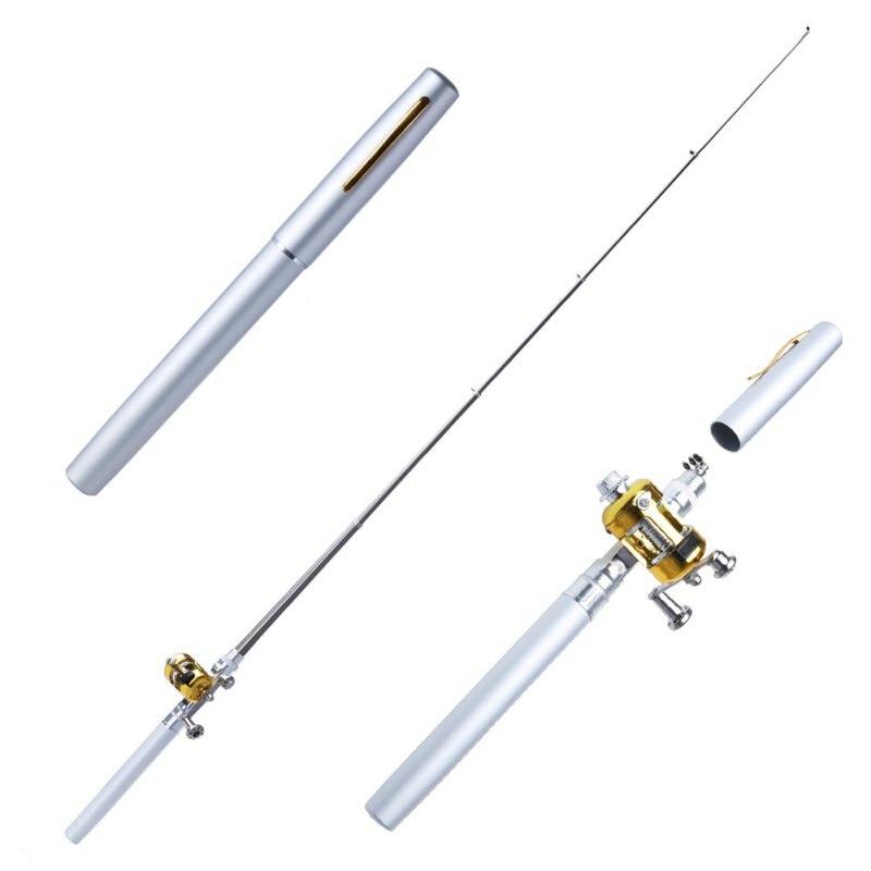 Nuevo Metal portátil de bolsillo telescópico Mini caña de pescar forma de pluma doblado caña de pescar con rueda de carrete Dropshipping