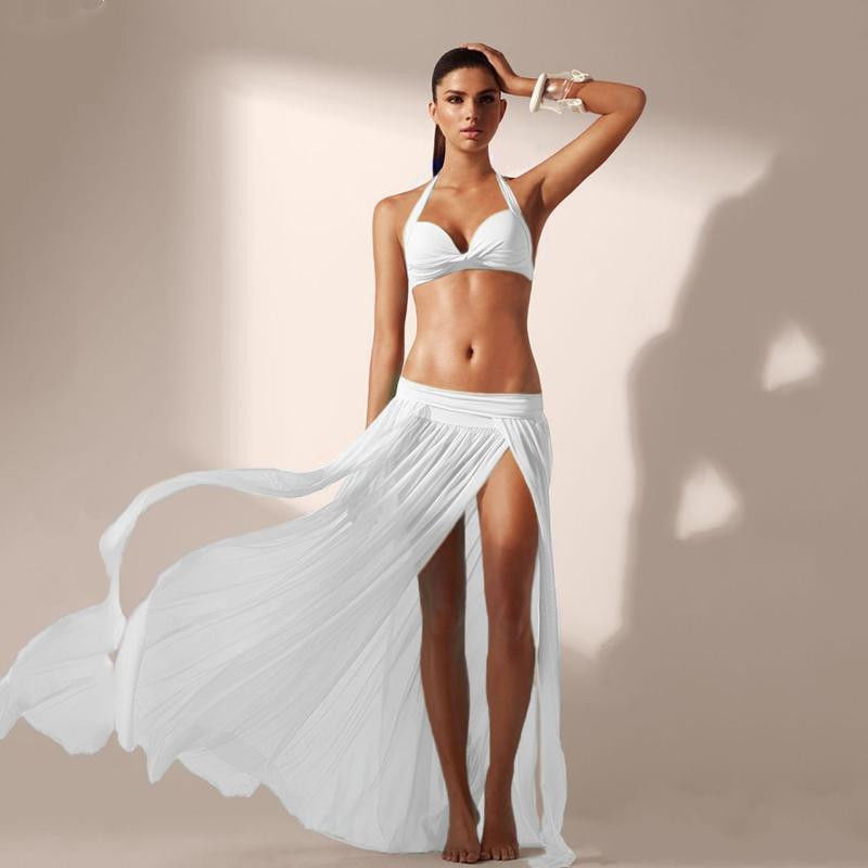 Summer Beach Dress Women Lady Sexy Chiffon White Tunic Wrap Long Maxi Skirt Swimwear Bikini Cover Up Sarong Bathing Suit