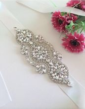 Rhinestone decoration Bridal Beaded Applique Patch Crystal Applique For Wedding Dress Silver stones and crystals swarovski
