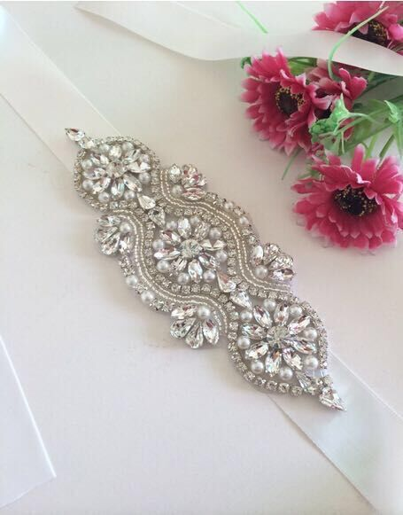 Rhinestone decoration Bridal Beaded Applique Patch Crystal Applique For Wedding Dress Silver stones and crystals swarovski
