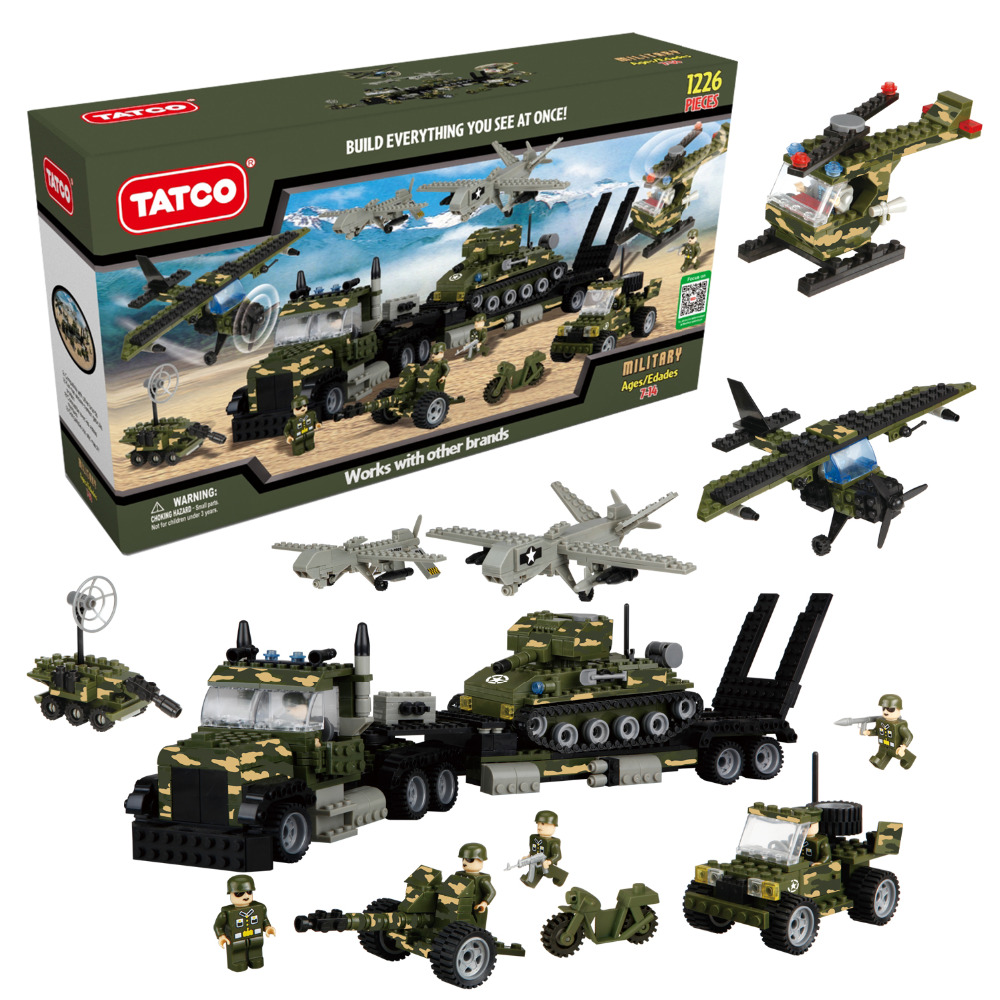 TATCO 1226Pcs/set Building Blocks Larger Military Army Tank Series Kids EDC Toys Gift Quality Guaranteed Boys Girls Gifts 8 in 1 military ship building blocks toys for boys