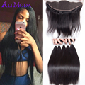 8A Brazilian Straight Hair 3 Bundles With 13x4 Ear to Ear Lace Frontal Closure Brazilian Virgin hair With Closure Human hair