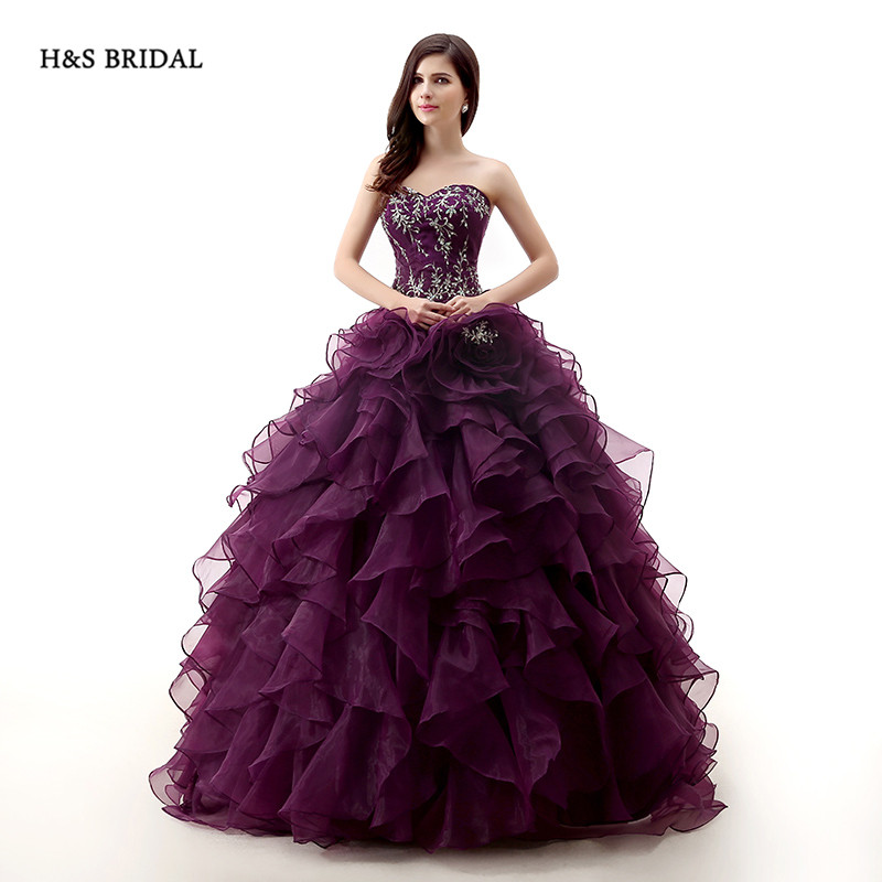 b5189af41e6 H S BRIDAL Dark Purple Rose Organza Ball Gown Prom Dresses Quinceanera  dresses sweet 16 robe de soiree quinceanera gowns -in Quinceanera Dresses  from ...