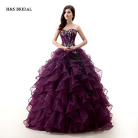 H&S BRIDAL Dark Purple Rose Organza Ball Gown Prom Dresses Quinceanera dresses sweet 16 robe de soiree quinceanera gowns