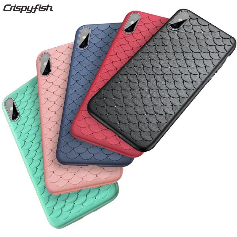 Crispyfish 3D Écailles de Poisson Doux Cas Pour iphone 7 7 Plus TPU Housse Pour iphone 6 6s Mat Silicone Cas Pour iphone X