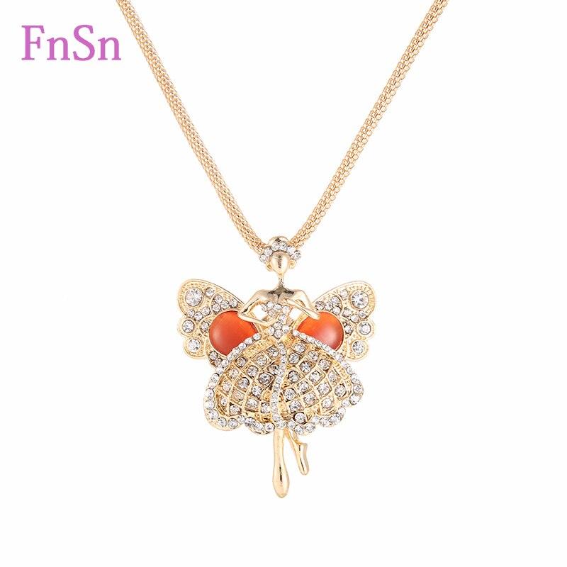 2016 módní náhrdelník ženy módní křišťálový drahokam dívka tanečnice náhrdelníky přívěsky zlatá barva dlouhý náhrdelník hot prodej pro ženy