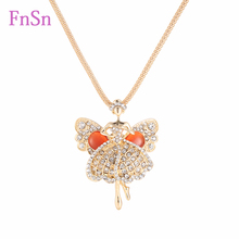 2016 Fashion Necklace women Trendy Crystal Gem Girl Dancers Necklaces Pendants Gold Colour Long Necklace Hot sale For Woman