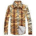 Autumn 2016 New Brand Long Sleeve Casual Shirts Men Printed Leopard Cotton Shirts Z6713