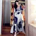 Мода Синяя Печать Шелковой Пижамы Длинный Ночную Рубашку женщин Из Двух Частей Спальный Платье Домашней Одежды Пижамы Наборы Ночное Халаты