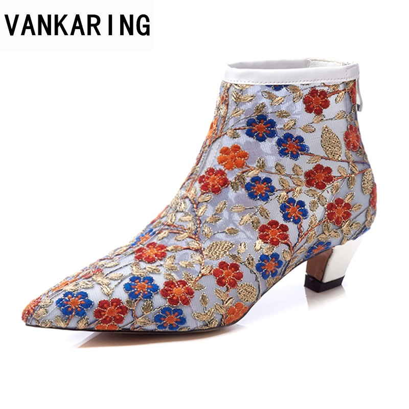 VANKARING women boots new 2018 spring summer ankle boots shoes med heel pointed toe zipper shoes woman party casual riding boots phyanic platform gladiator sandals 2017 new casual wedge shoes woman summer women ankle boots side zipper party shoes phy5036