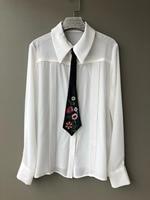 2019 spring new stylish women shirts full sleeve turn down female blouse with beading tie silk shirt 0311
