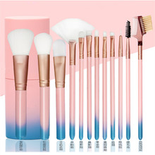 12pcs Professional Makeup Brushes Eyeshadow Contour Foundation Cosmetic Brush Fan Brush Plastic Brush Holder Pinceis Maquiagem