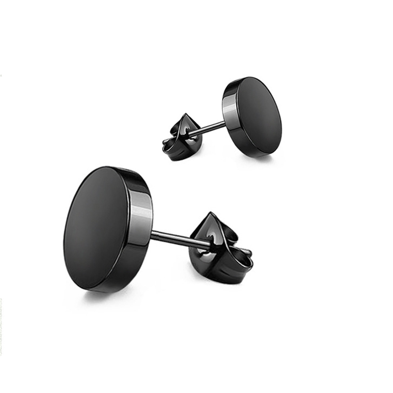 ZMZY Stainless Steel Ear Studs Earrings Black Silver Color Round Shaped Clasp Push Back Earrings For Women Men Jewelry Cool Gift
