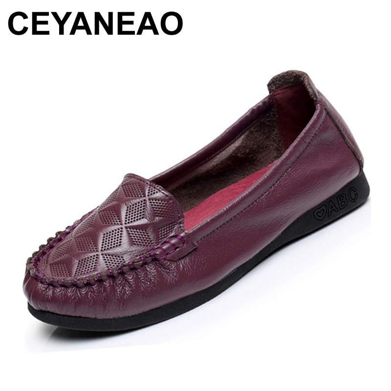 CEYANEAO Genuine Leather Fashion Shoes Female Spring/Autumn Solid Comfortable Flats Soft Bottom Casual Loafers Shoes Woman chilenxas 2017 new spring autumn soft leather breathable comfortable shoes flats men casual fashion solid slip on handmade