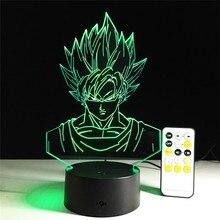 Dragon ball z super saiyan 3 goku table lamp with remote control 2016 New 7 color