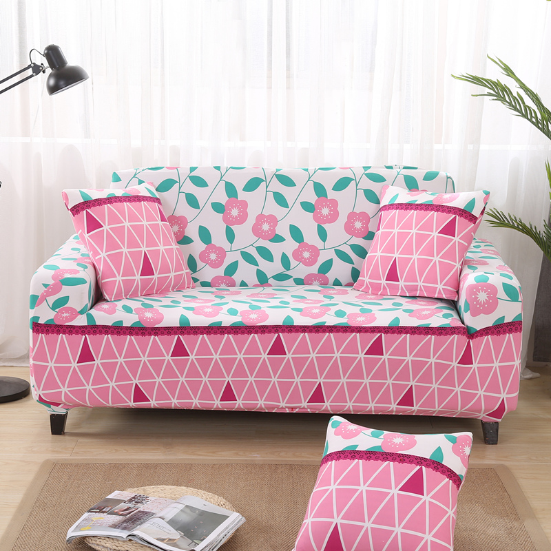 Small Plaid Printed Sofa Covers for Living Room Pink Flower Sofa ...