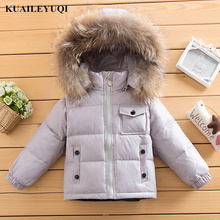 winter 90% down jacket Raccoon fur collar parka for girls boys coats children's clothing for snow wear kids baby girl clothes