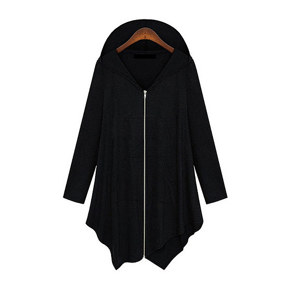 TFGS New Women irregular Zip Long Hoodie cape Plus Size Jacket Coat
