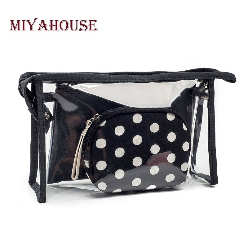 Miyahouse Female Portable 3pcs/set Waterproof Cosmetic Bags Dot Printed Transparent Make Up Bag Travel Toiletry Bag Lady 1pcs urinal gogirl go girl woman urination device 9 5cm stand up pee fud camping travel portable female tiolet