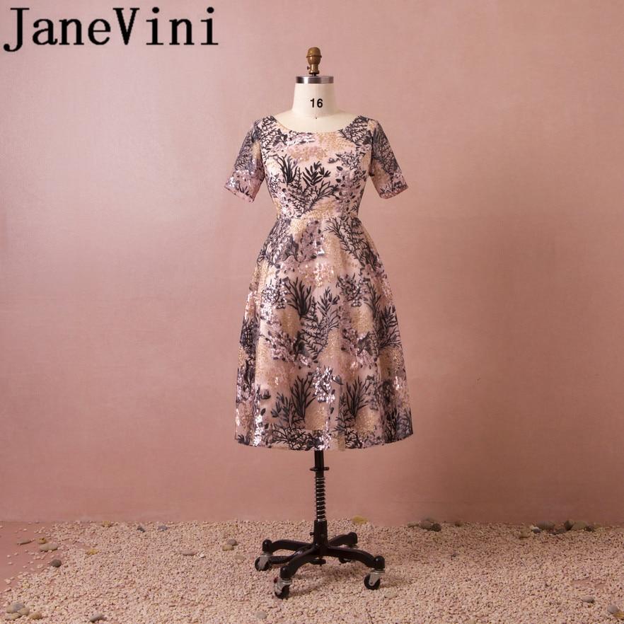 JaneVini Graceful Long   Bridesmaid     Dresses   Plus Size Lace Embroidery Short Sleeve Zipper Back Tea Length Wedding Guest   Dress   2018