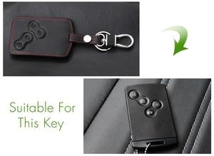 Image 3 - Thie2e Funda de cuero para llave de coche, cubierta de diseño de coche para Renault Kadjar Clio Logan Megane 1 2 3 Koleos tarjeta Scenic Keychain Case