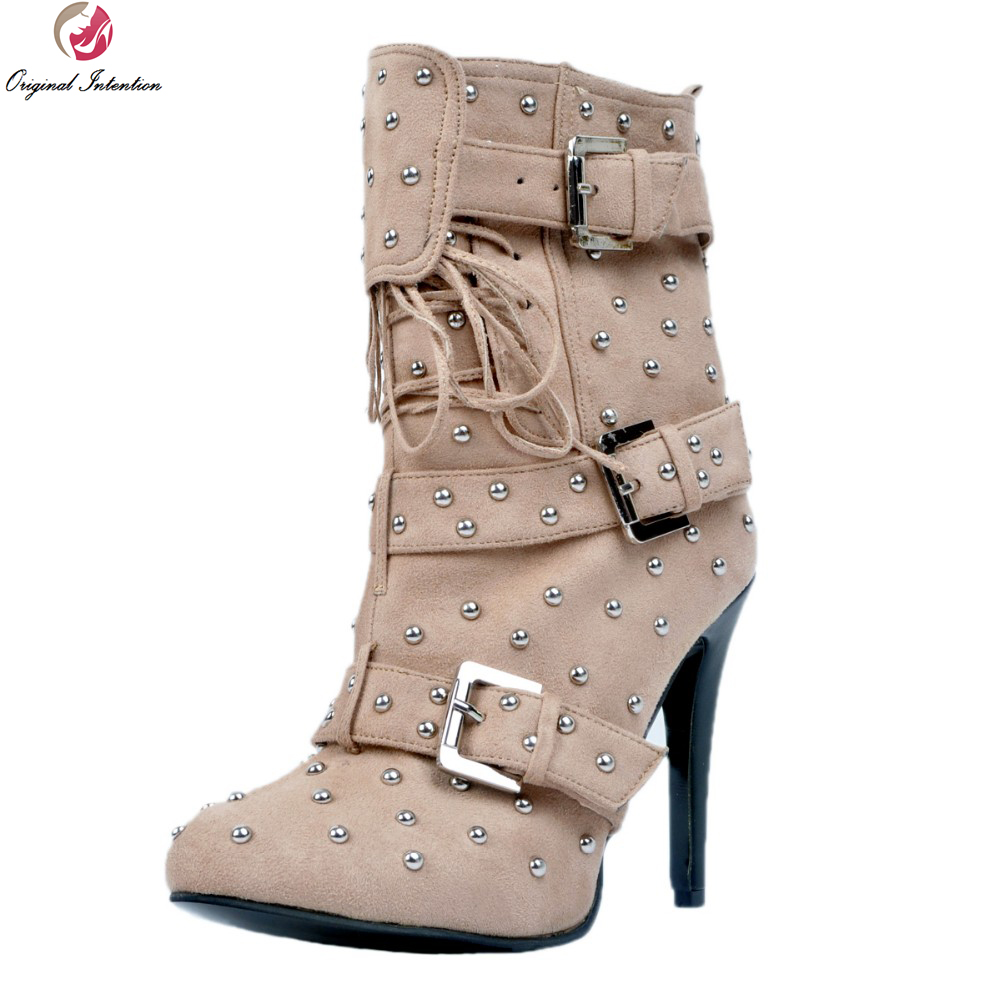 Original Intention Stylish Women Ankle Boots Nice Rivtes Round Toe Thin Heels High-quality Beige Shoes Woman Plus US Size 4-15 original intention high quality women knee high boots nice pointed toe thin heels boots popular black shoes woman us size 4 10 5