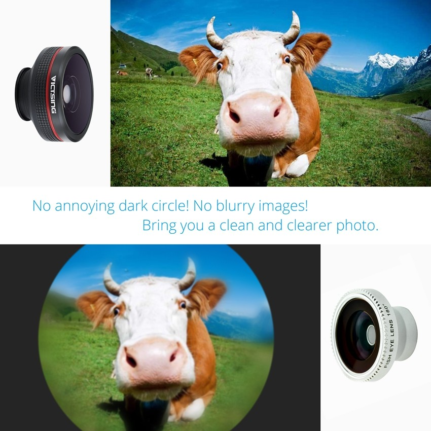 VICTSING Clip-on 3 in 1 Camera Phone Lens Kit Fisheye Lens + 12X Macro + 24X Super Macro Lens for iPhone 6s 6 Plus etc Cellphone 5