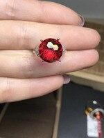 Натуральный 12*12 мм фейерверк красный Топаз Кольцо природных драгоценных камней кольцо S925 Серебряный Элегантный Круглый волны довольно жен