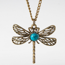 Vintage Retro Style Bronze Dragonfly Long Chain Sweater Necklace Pendant M105
