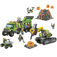 Compatible with Legoinglys City Volcano Exploration Base Building Blocks Construction Toy Model Bricks Toys Gift