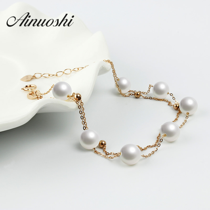 Top Quality 18K Real Yellow Gold Freshwater White Pearl Charm Bracelet Fine Jewelry Wholesale for Women Wedding Engagement
