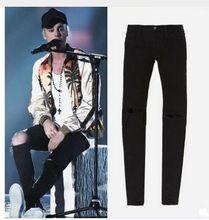 TOP men's designer clothes famous brand slp ankle zipper justin bieber rockstar black distressed ripped skinny fear of god jeans