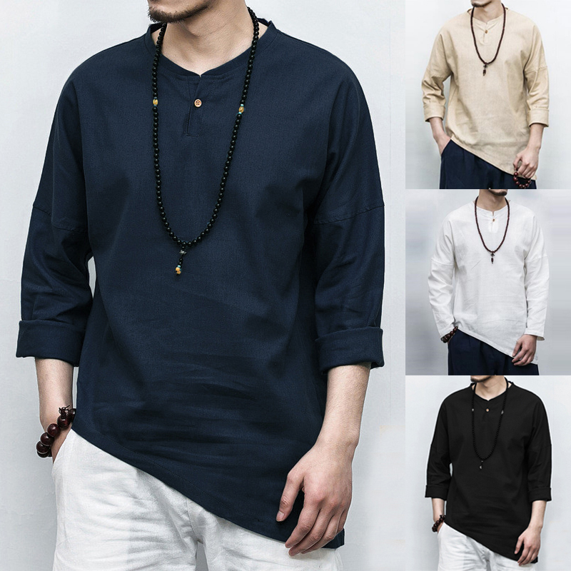 INCERUN New 2019 Plus Size <font><b>Men's</b></font> <font><b>Shirts</b></font> Long Sleeve Solid Irregular Chinese Style <font><b>Shirt</b></font> <font><b>Men</b></font> Cotton <font><b>Linen</b></font> <font><b>Vintage</b></font> Casual Chemise image