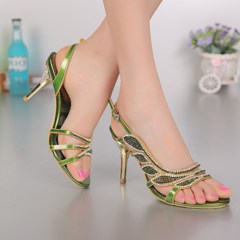 54769d2aaec Ladies 8cm Heel Blue Rhinestone Sandals Wedding Shoes Stiletto Heel Party  Dress Shoes Sheepskin Summer Sandals Plus size 34-44