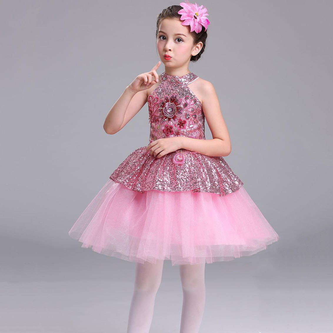 2018 Kids Bling Bling Clothing Ball Gown Prom Dresses Vestidos De ...