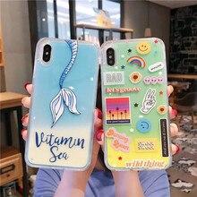 Cartoon Neon Sand Liquid Quicksand Luminous Phone Cases For iPhone XS MAX XR 7 8 6 6s Plus 11 Pro Cover Capa