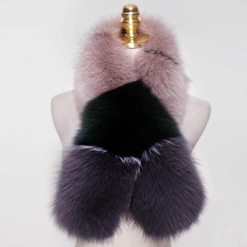 Шарф для женщин из натурального Лисьего меха шарф шарфы для шеи Теплая накидка шаль-пончо снуд цветной блокирующий модный шарф