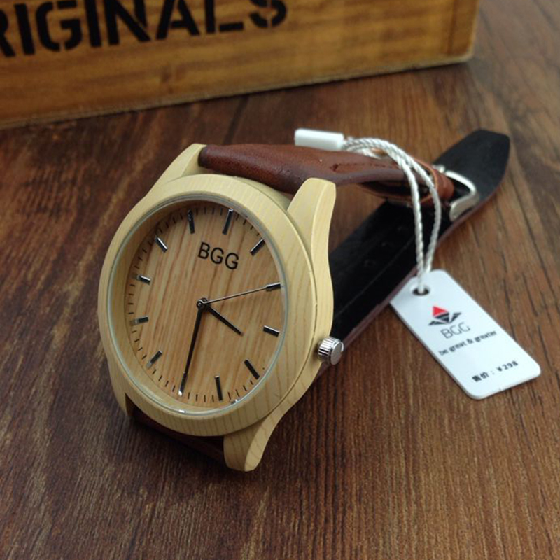 Hot Sale Simulation Wooden Watch Men Casual Wood Colo