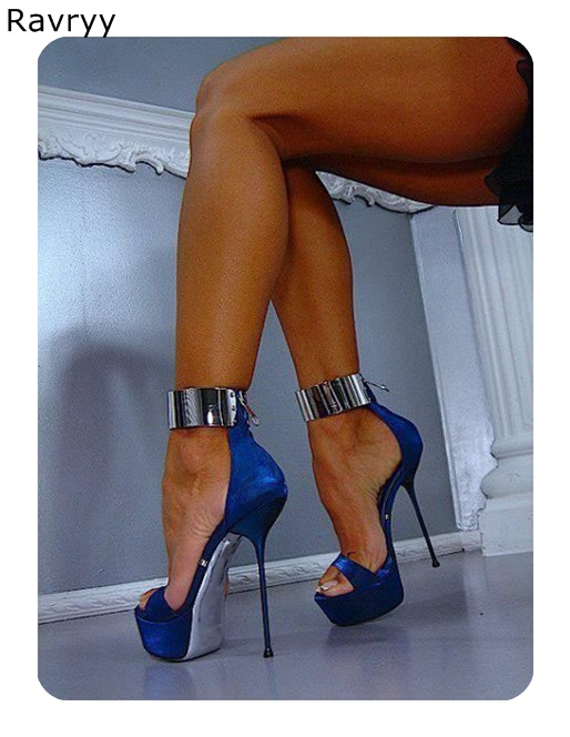 Ankle Strap woman's blue high heels
