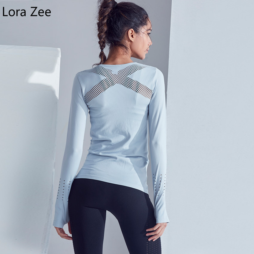 Lora Zee seamless sports t shirts long sleeve thumb hole fitness gym top cross mesh panel breathable yoga shirts women