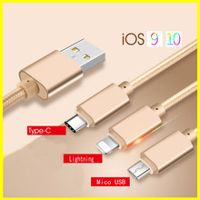 3 in 1 Mobile Phone Cables Micro USB Cable for Samsung huawei for iPhone 7 5 5s se 6 6s Plus /Type-c Cable For Xiaomi Meizu LGG5(China)
