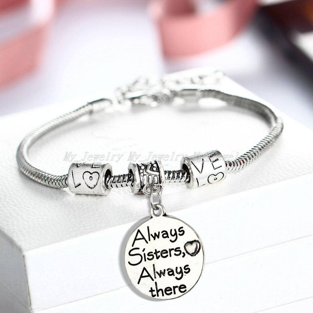 Sister Bracelet Always Sister Always There Love Bead Women