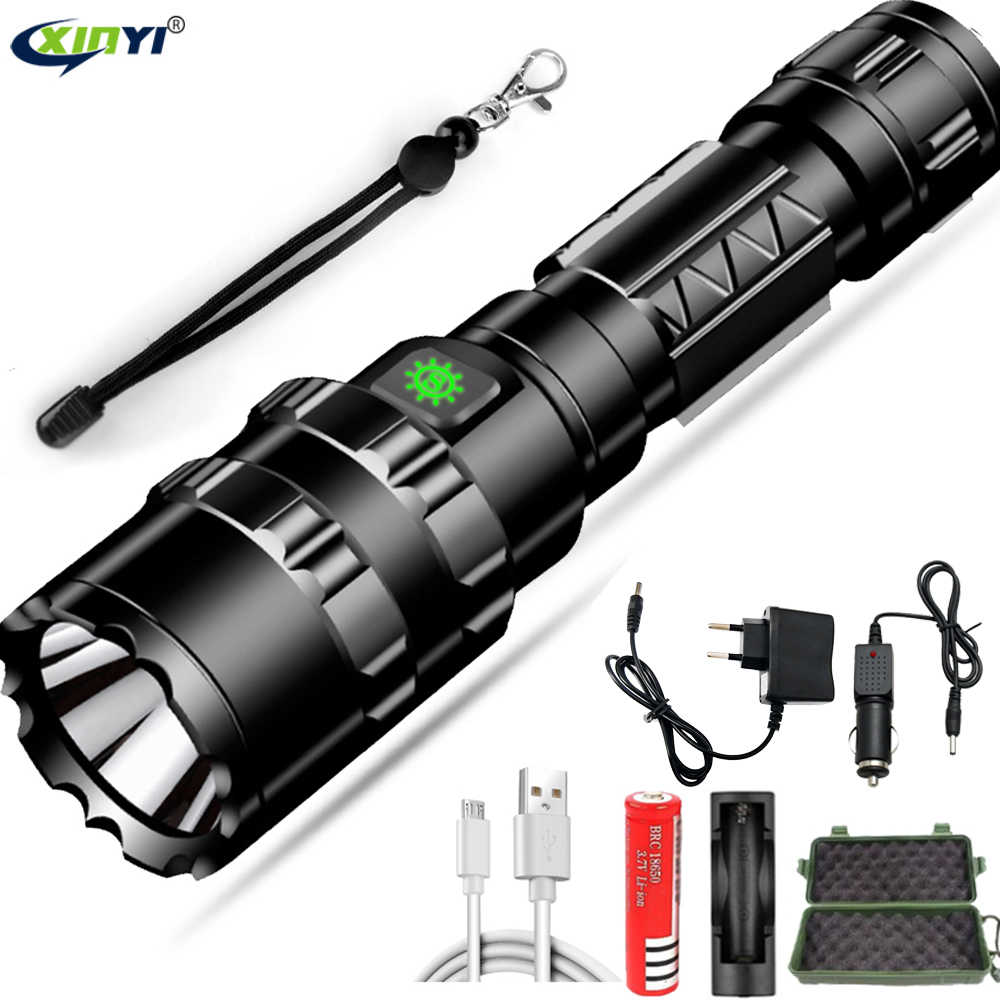 50000LM UltraBright LED Tactical Flashlight USB Rechargeable Waterproof Scout light Torch Hunting light 5 Modes by 18650 battery