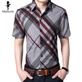 Troilus Mens Striped Shirt Plaid Business Summer 2016 New Fashion Casual Shirt Short Sleeve 3XL Hot Sale Business Dress Shirts